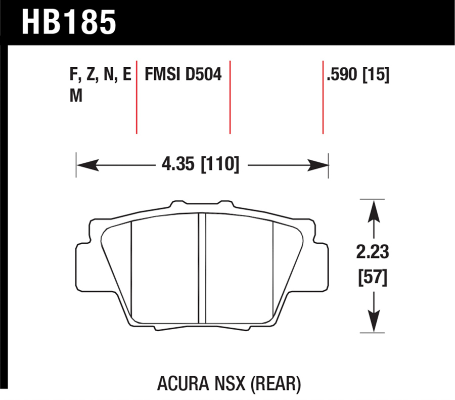 Acura NSX                            Brake Pad SetBrake Pad Set